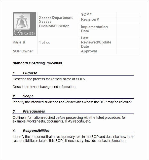 Template for Standard Operating Procedures New sop Template Word Best Word Templates