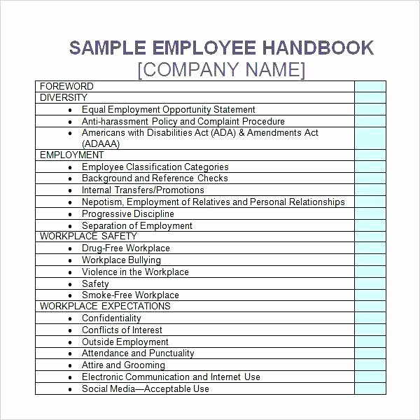 Template for Training Manual Fresh Training Handbook Examples Employee Handbook Template