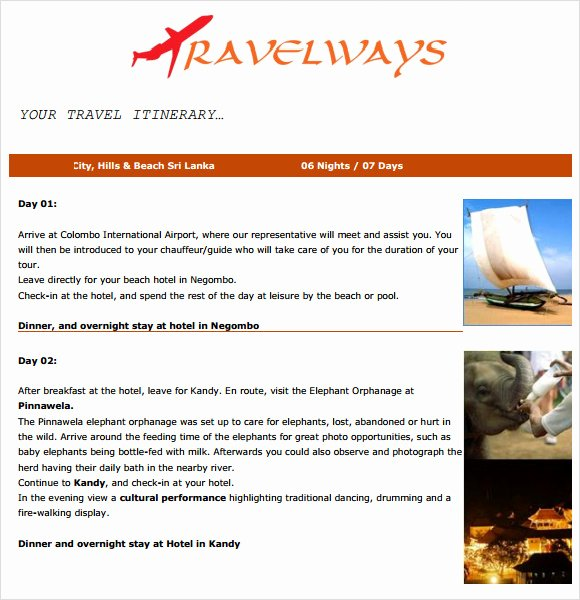 Template for Travel Itinerary Fresh 6 Sample Travel Itinerary Templates to Download