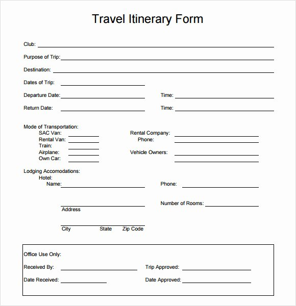 Template for Travel Itinerary Lovely 6 Sample Travel Itinerary Templates to Download