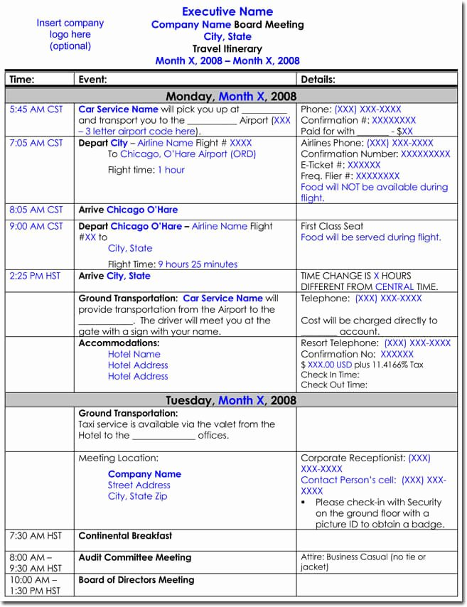 Template for Travel Itinerary Lovely Free Itinerary Templates to Perfectly Plan Your Trips