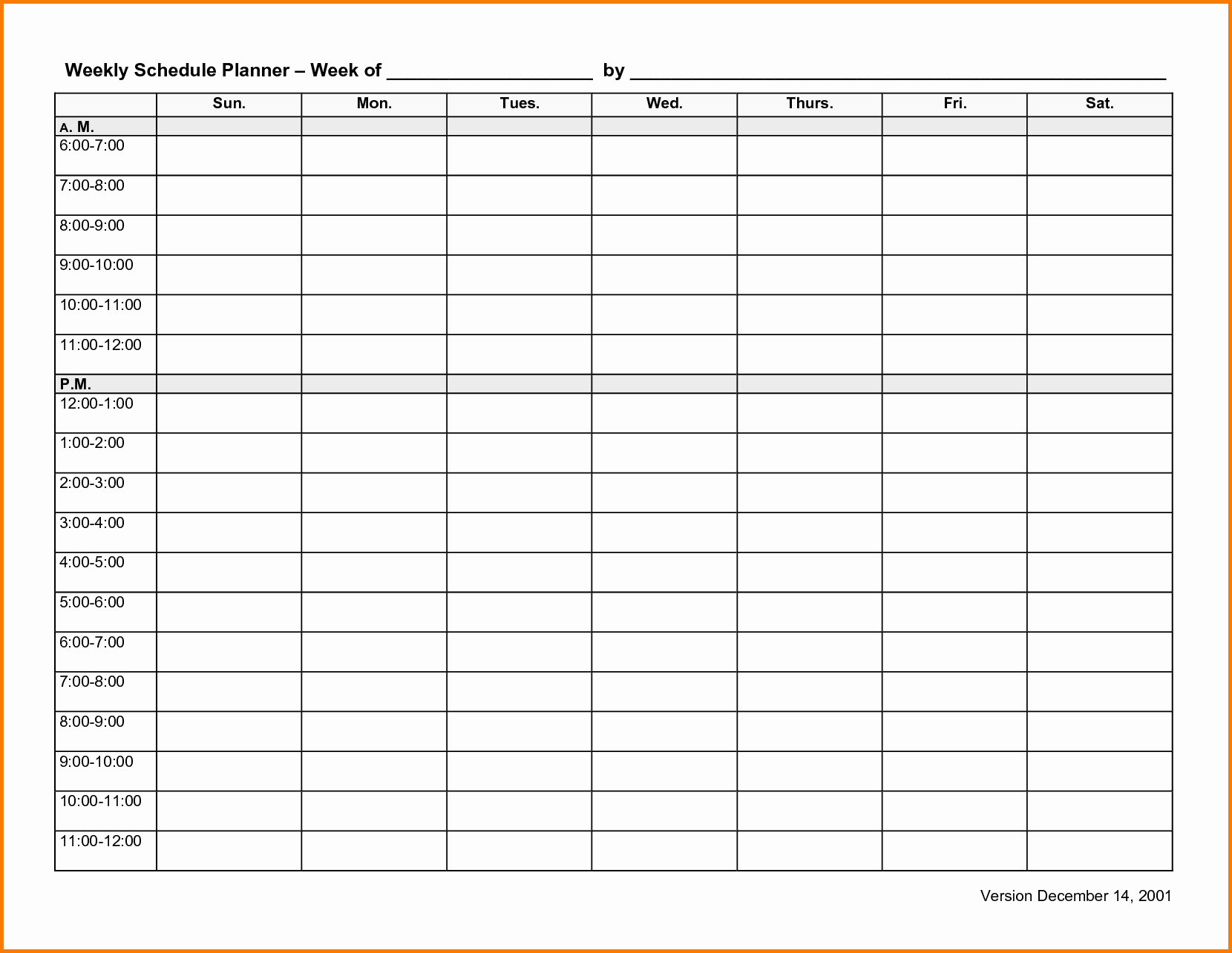 Template for Weekly Schedule Beautiful 6 Weekly Schedule Template