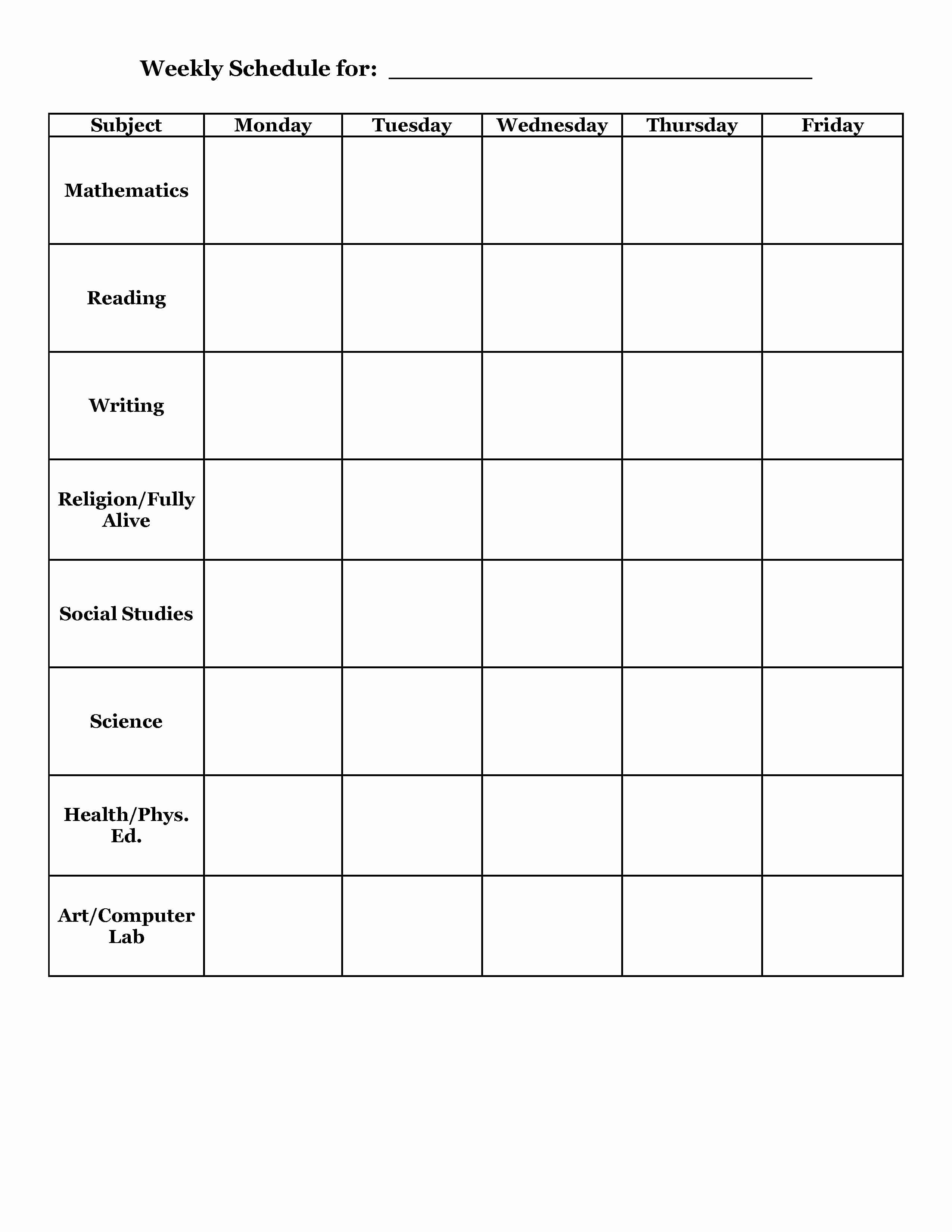 Template for Weekly Schedule Inspirational Teachers Weekly Planner Template