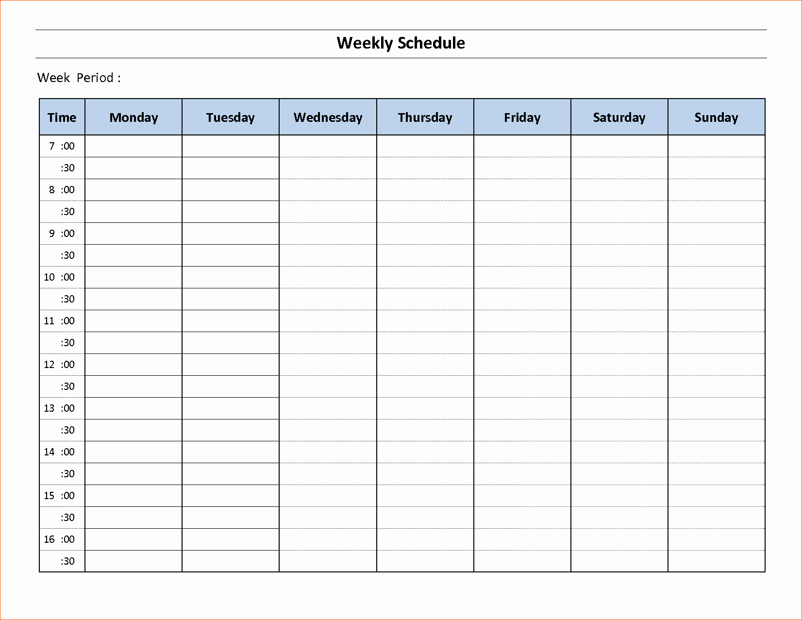 Template for Weekly Schedule Lovely 10 Free Weekly Schedule Template