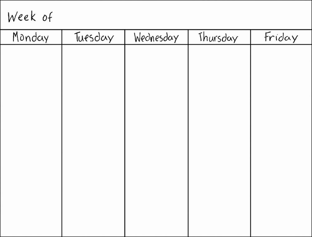 Template for Weekly Schedule Luxury Blank Weekly Calendars Printable