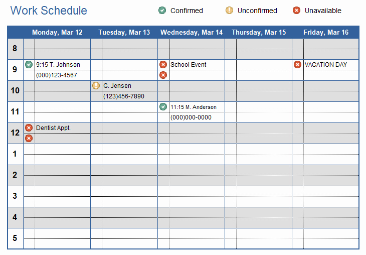 Template for Work Schedule Awesome Work Schedule Template for Excel
