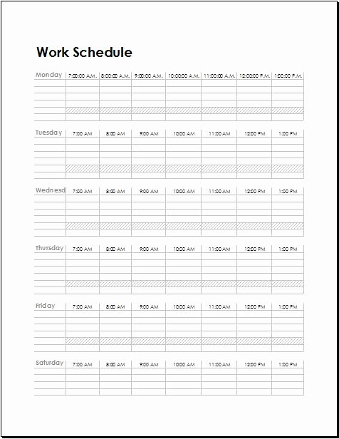 Template for Work Schedule Elegant Work Schedule Templates for Employees