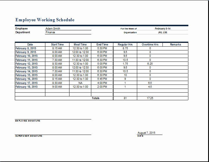 Template for Work Schedule Fresh Employee Work Schedule format