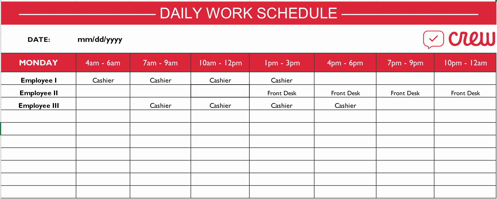 Template for Work Schedule Lovely Free Daily Work Schedule Template Crew