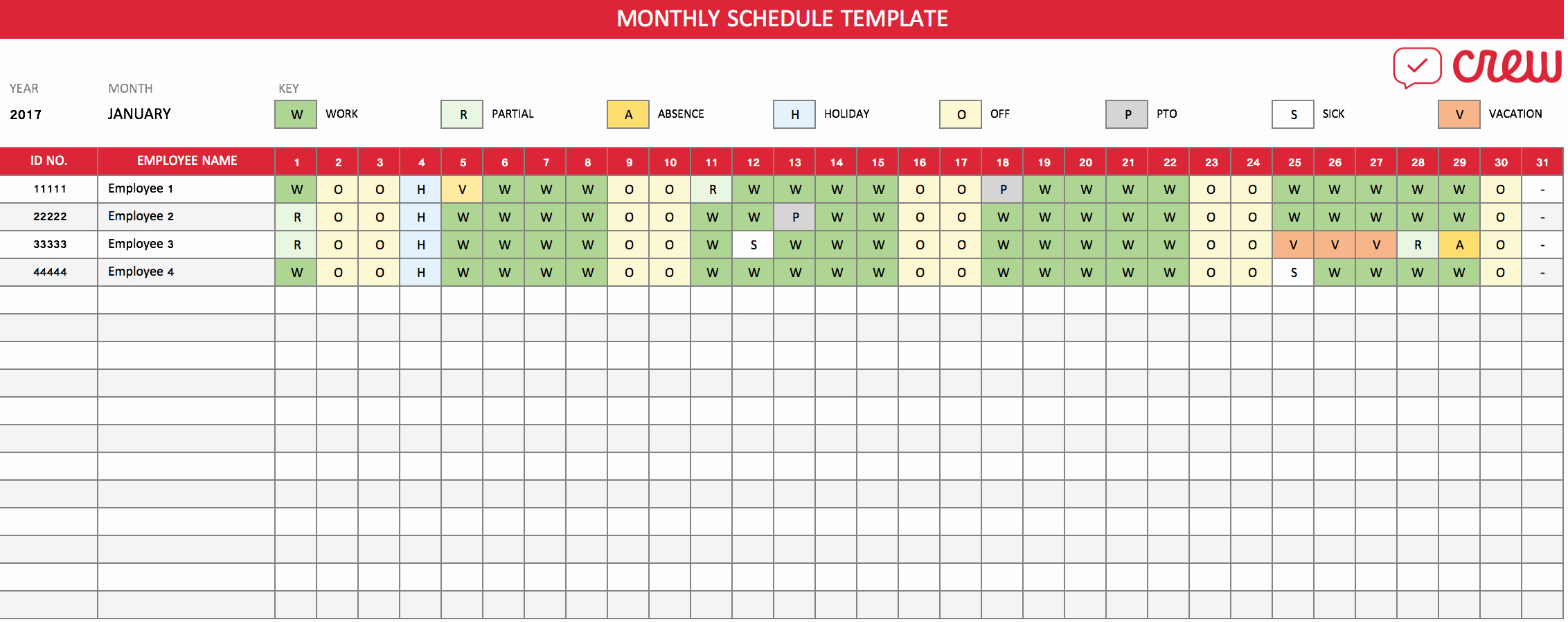 Template for Work Schedule Unique Free Monthly Work Schedule Template Crew