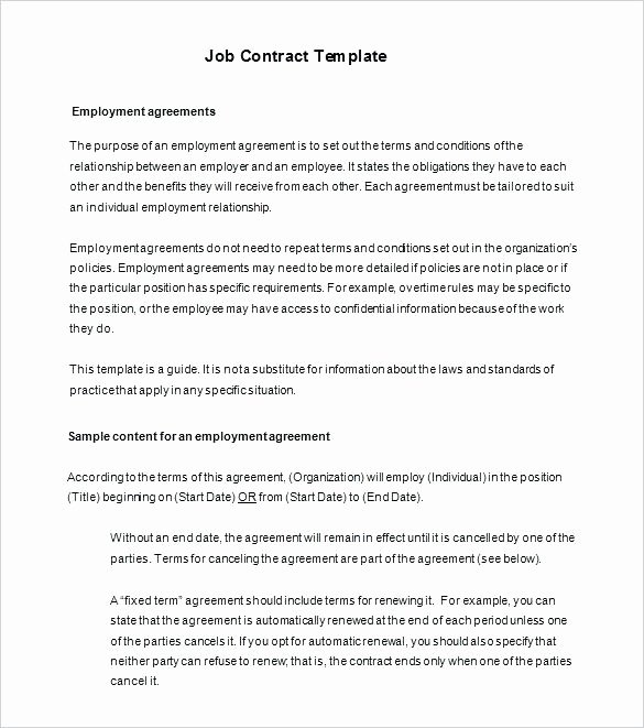 Temporary Employment Contract Template Awesome Employment Contract Agreement Template – Bbfinancialsfo