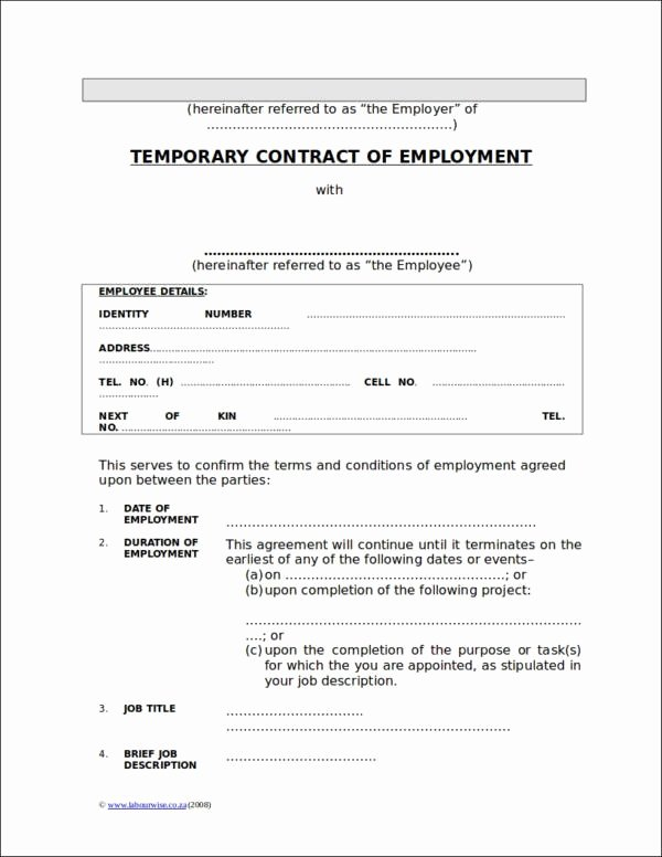 Temporary Employment Contract Template Beautiful 35 Contract Samples & Templates In Doc