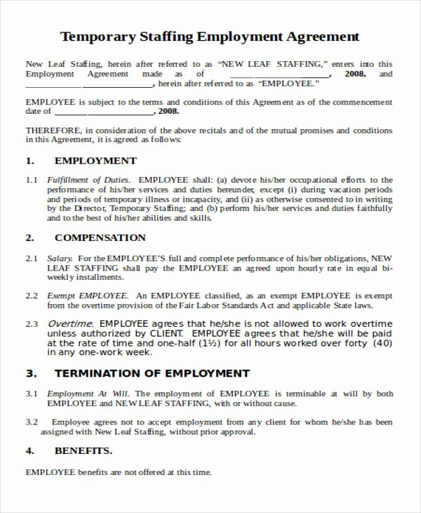 Temporary Employment Contract Template Beautiful 36 Agreement Templates In Word