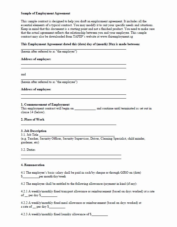 Temporary Employment Contract Template Beautiful Free Employment Contract Template