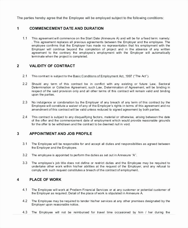 Temporary Employment Contract Template Best Of Agreement Letter for Employee Unique Employment Contract