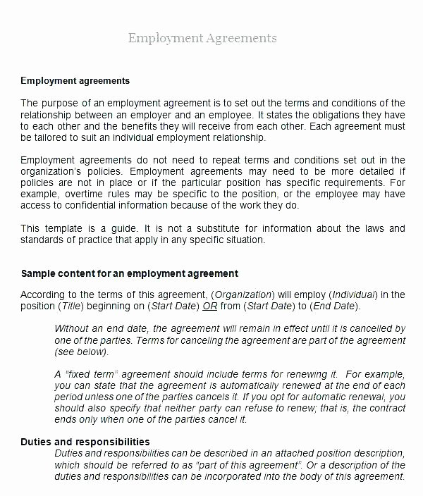 Temporary Employment Contract Template Best Of Employment Agreement Template Free Download Nz Job