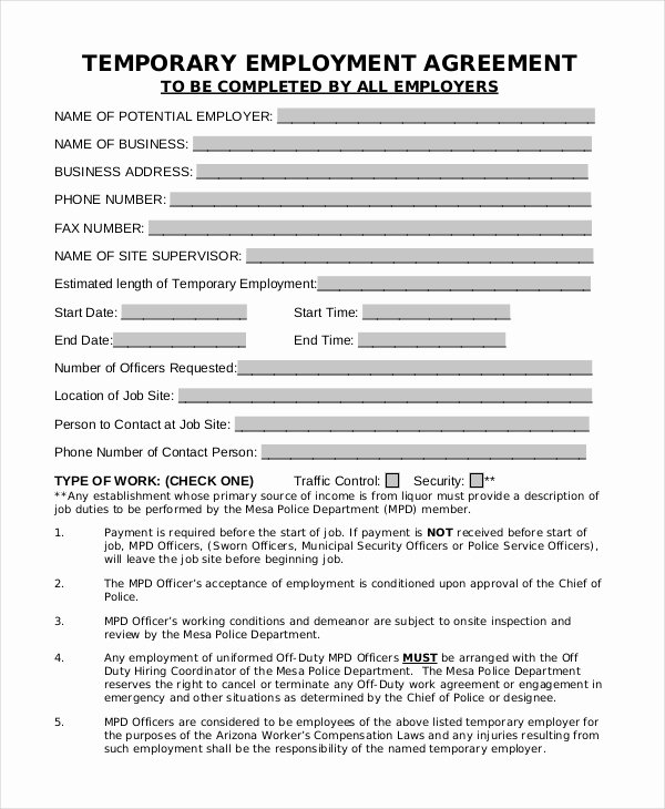 Temporary Employment Contract Template Elegant 43 Basic Agreement forms