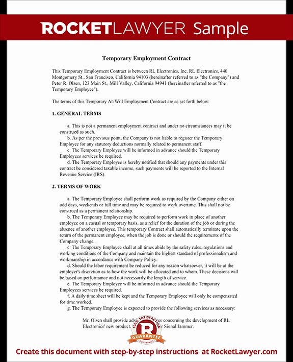 Temporary Employment Contract Template Inspirational Temporary Employment Contract Agreement Template with