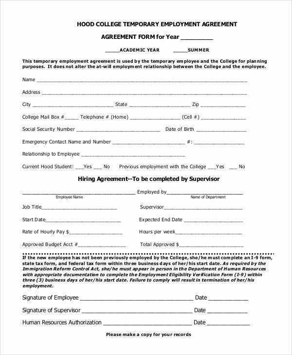 Temporary Employment Contract Template Lovely 57 Basic Agreement forms