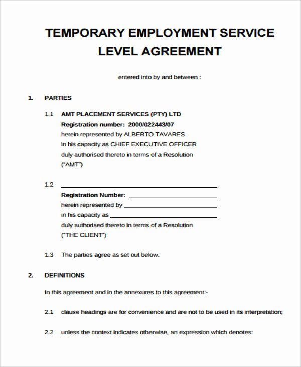 Temporary Employment Contract Template Lovely Service Agreement form
