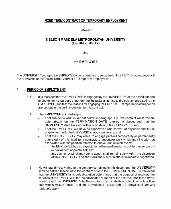 Temporary Employment Contract Template Luxury 14 Employment Contract Templates Pages Google Docs