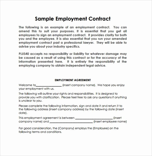 Temporary Employment Contract Template Luxury 20 Sample Employment Contract Templates Docs Word