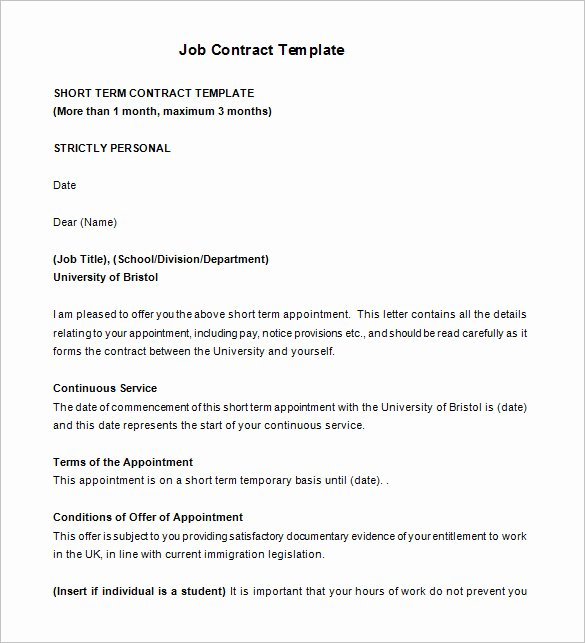 Temporary Employment Contract Template Unique 18 Job Contract Templates Word Pages Docs