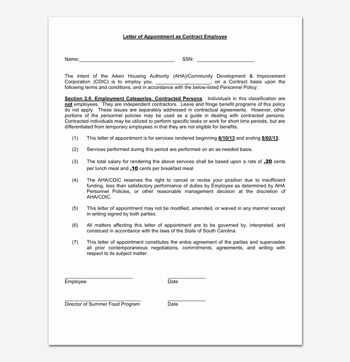 Temporary Employment Contract Template Unique Temporary Appointment Letter 9 Samples & formats