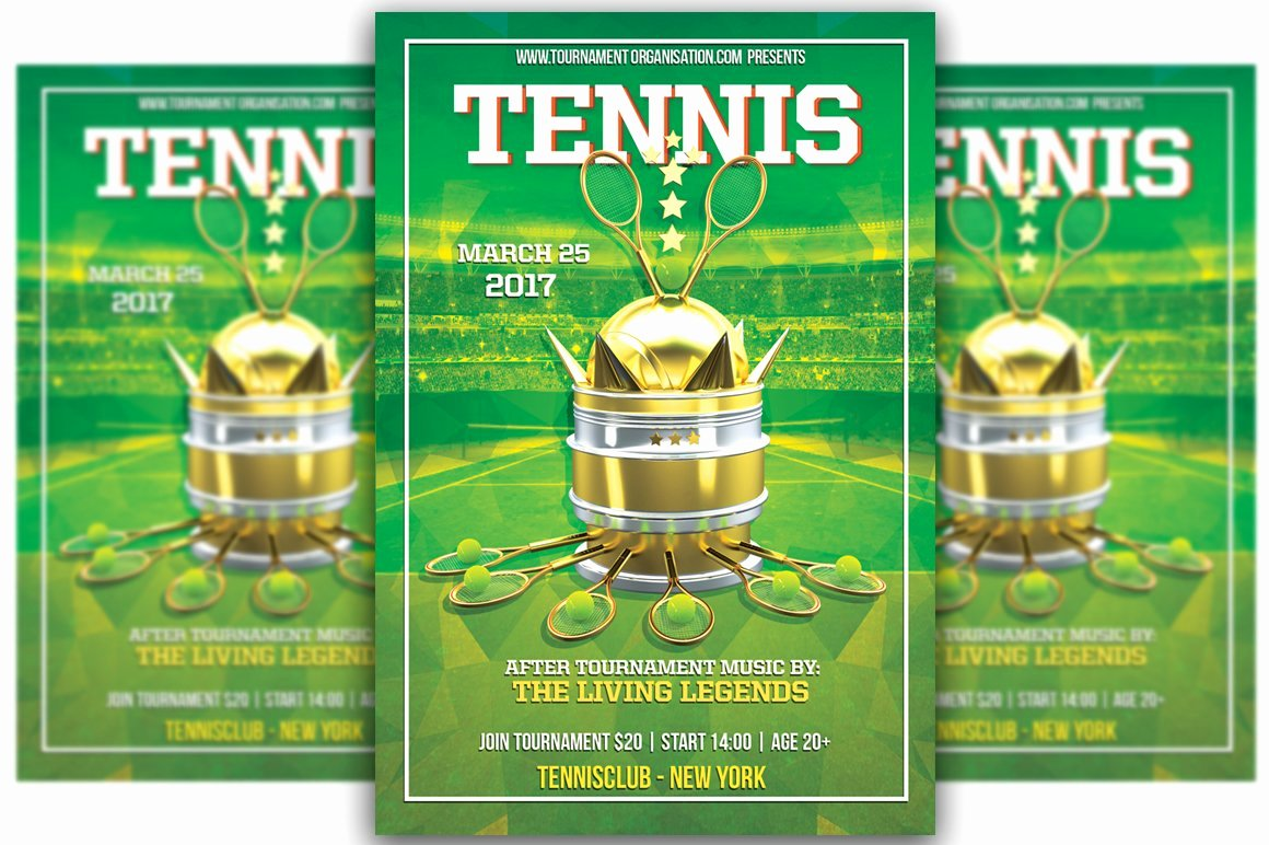 Tennis Flyer Template Free Awesome Tennis tournament Flyer Templates Creative Market