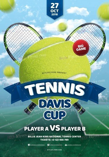 Tennis Flyer Template Free Beautiful Tennis Davis Cup Psd Flyer Template Styleflyers