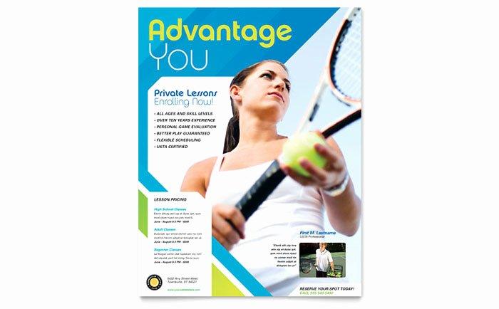 Tennis Flyer Template Free Elegant Tennis Club & Camp Flyer Template Design