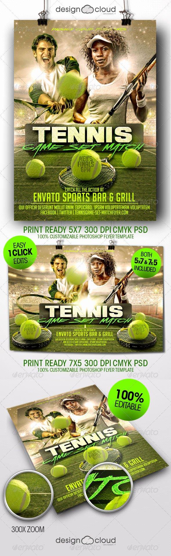 Tennis Flyer Template Free Elegant Tennis Game Set Match Flyer Template by Design Cloud