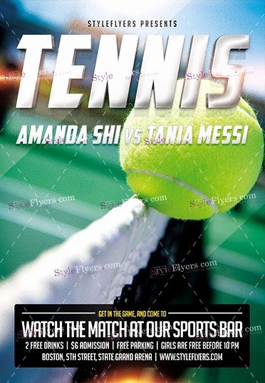 Tennis Flyer Template Free Elegant Tennis Psd Flyer Template Styleflyers