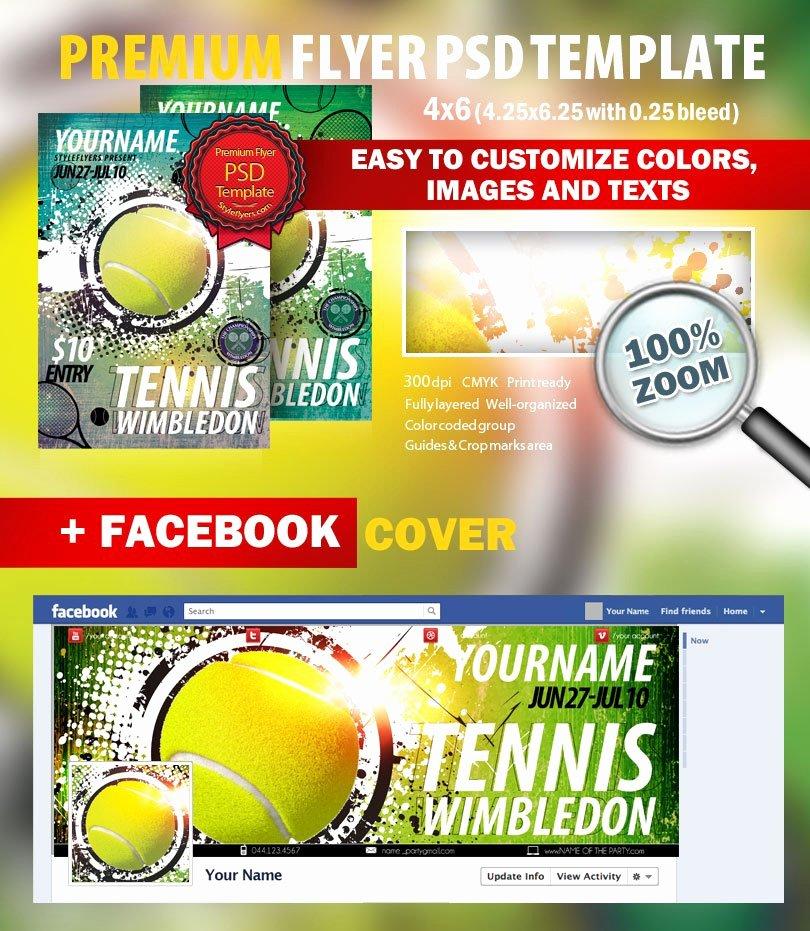 Tennis Flyer Template Free Lovely Tennis Wimbledon Psd Flyer Template 8489 Styleflyers