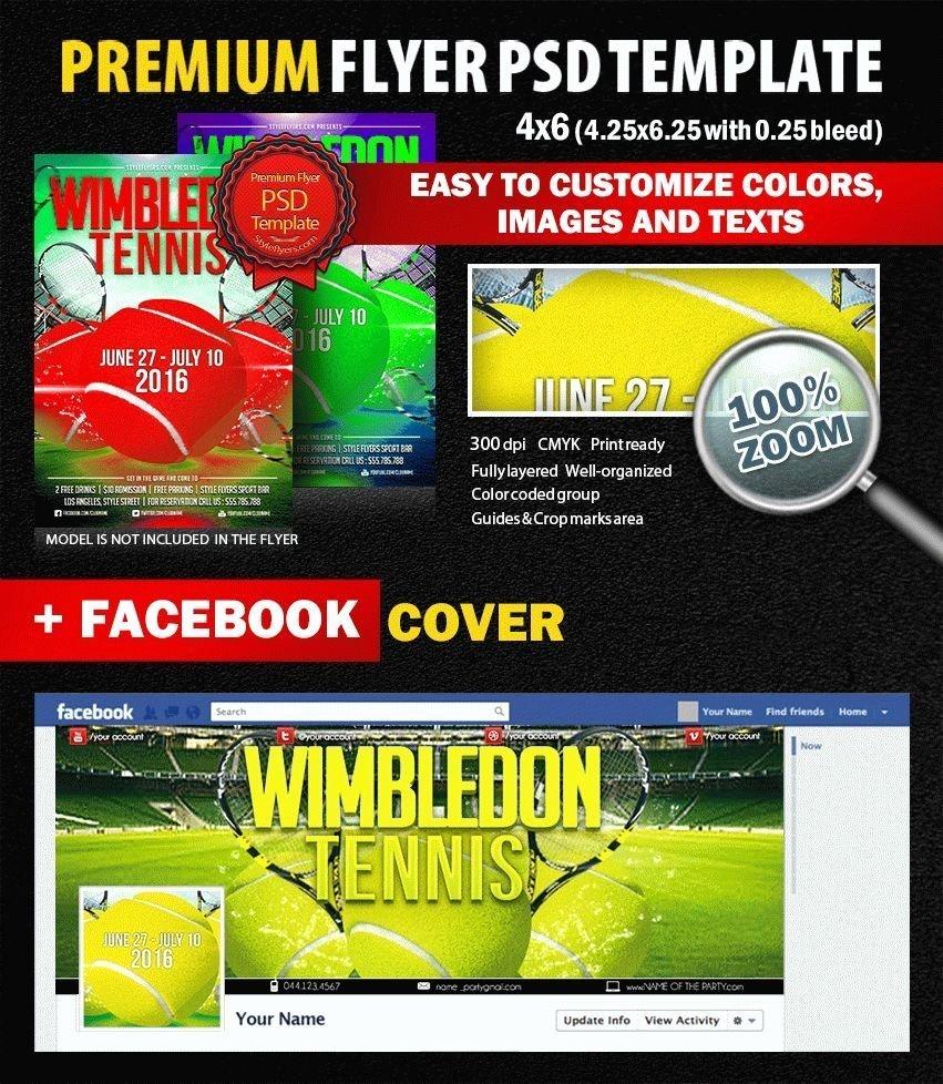 Tennis Flyer Template Free New Tennis Wimbledon Psd Flyer Template 9016 Styleflyers