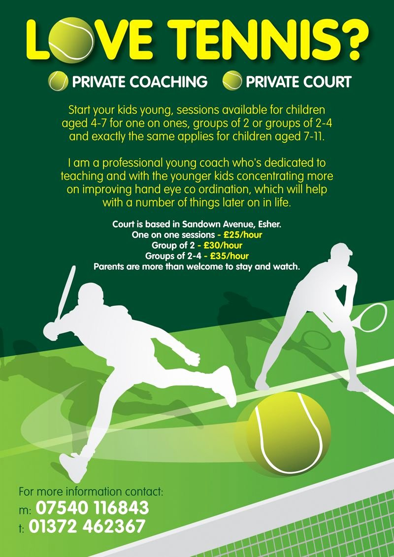 Tennis Flyer Template Free Unique Leaflet Design for Private Tennis Coaching for Kids by