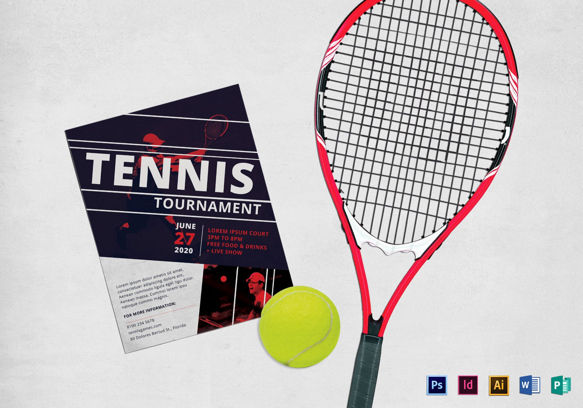 Tennis Flyer Template Free Unique Long Tennis tournament Flyer Design Template In Psd Word