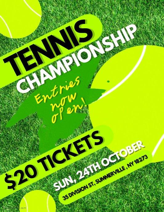 Tennis Flyer Template Free Unique Tennis Championship Flyer Template
