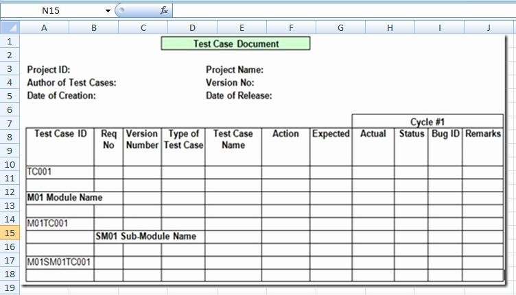 Test Case Template Excel Elegant Project Management Test Case Template Excel Xls
