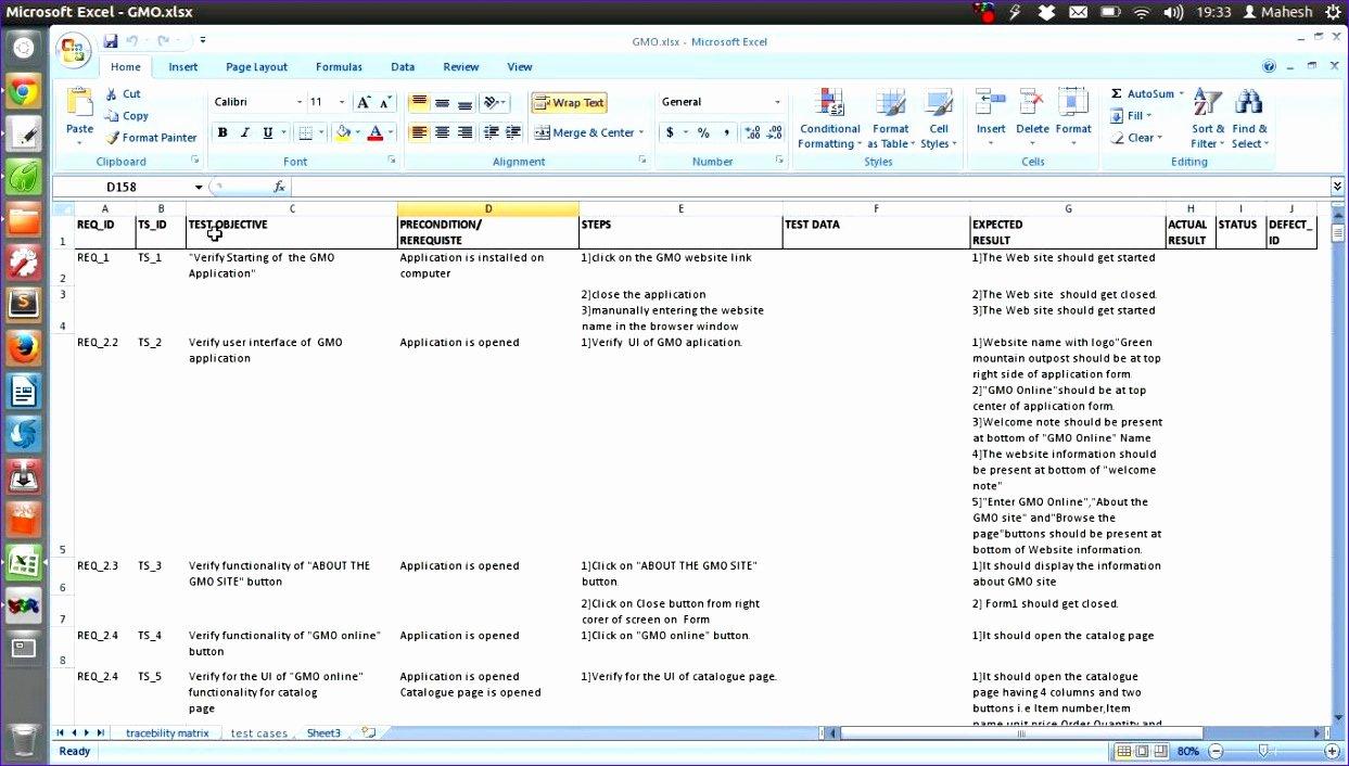 Test Case Template Excel Fresh 8 Test Script Template Excel Exceltemplates Exceltemplates