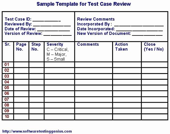 Test Case Template Excel Fresh Test Case Template