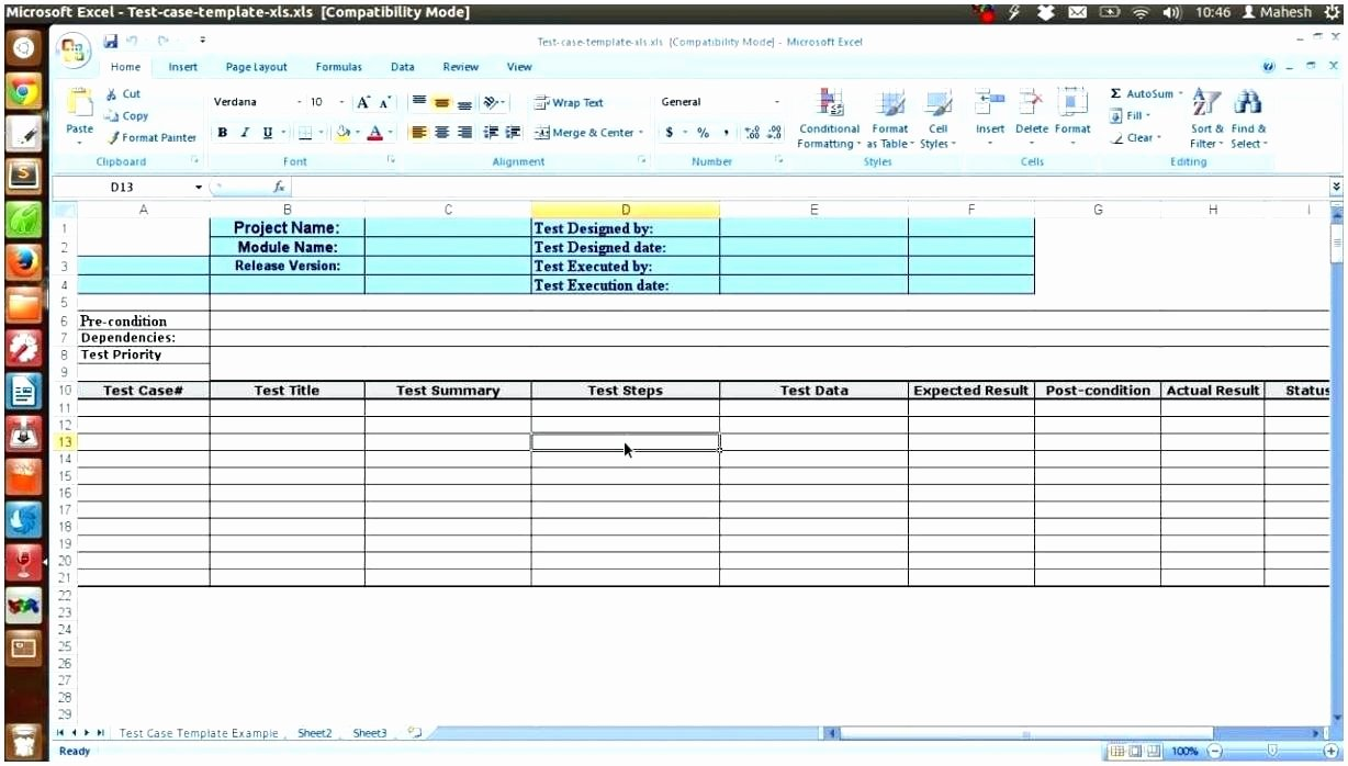 Test Case Template Excel Inspirational Template Test Plan
