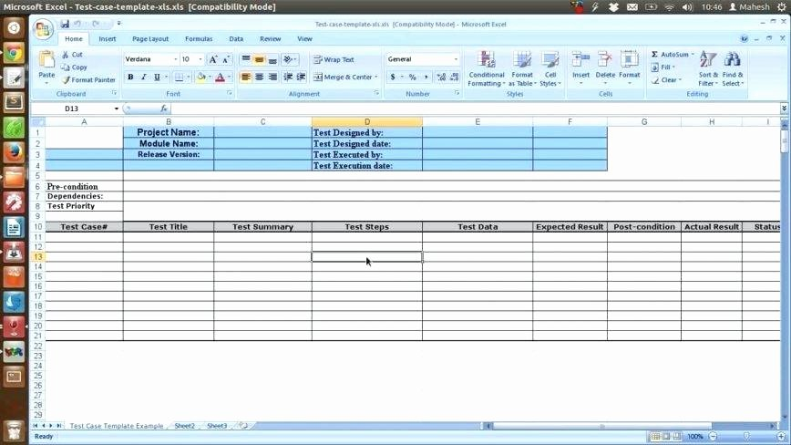 Test Plan Template Excel New Free Excel Test Plan Template Case Sample format Document