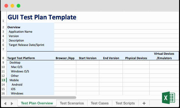 Test Plan Template Excel New Ui & Gui Testing