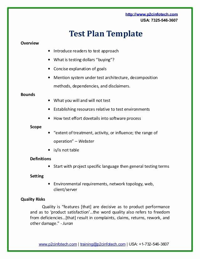 Test Plan Template Pdf Fresh Sample Test Plan Doc