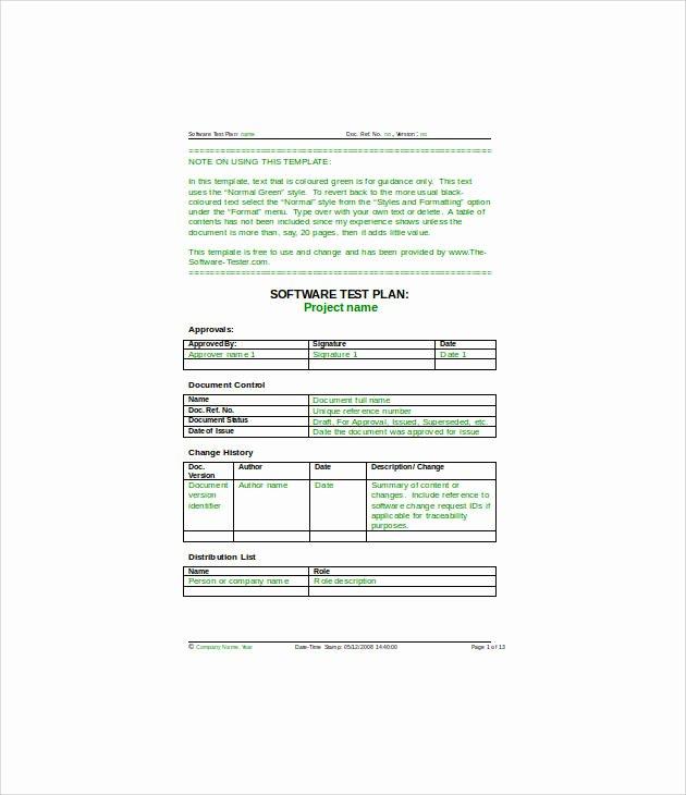 Test Plan Template Pdf Luxury 13 Simple Test Plan Templates Pdf Word