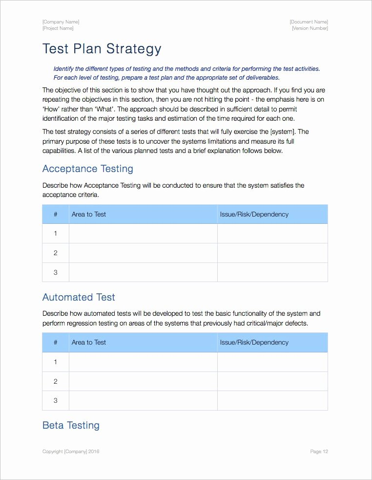 Test Plan Template Word Luxury Test Plan Template Ms Word Excel