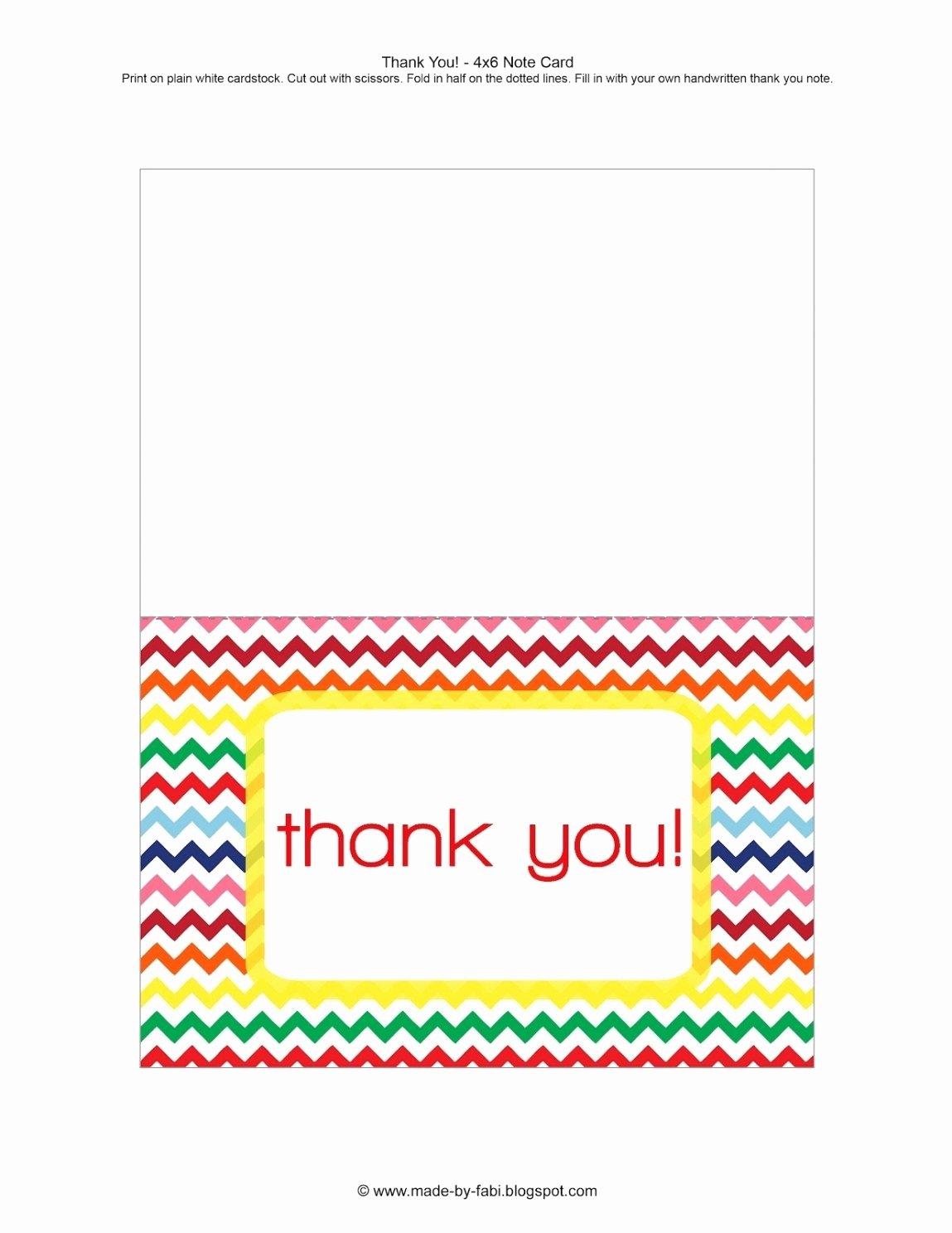 Thank You Card Template Word Fresh Printable Thank You Card Template Word