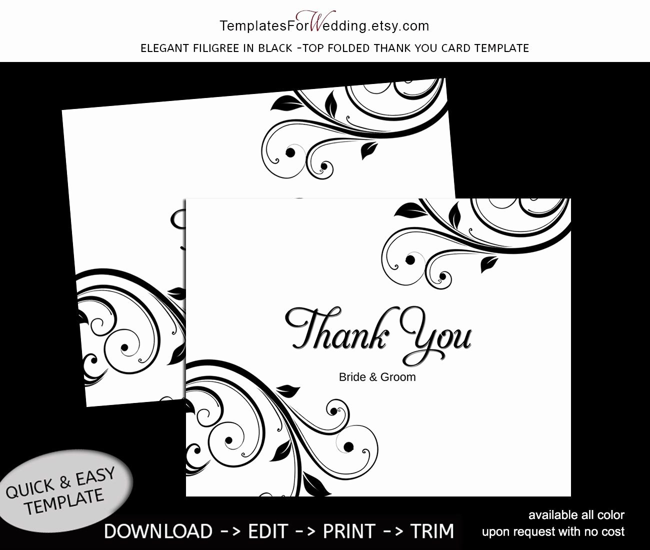Thank You Card Template Word New Thank You Card Template Instant Editable Word