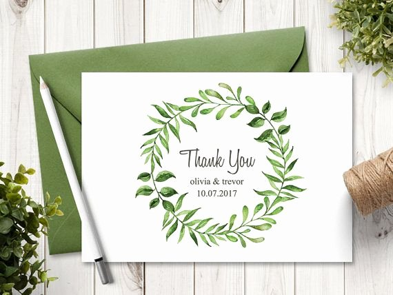 Thank You Card Template Word Unique Watercolor Wreath Wedding Thank You Card Template Lovely